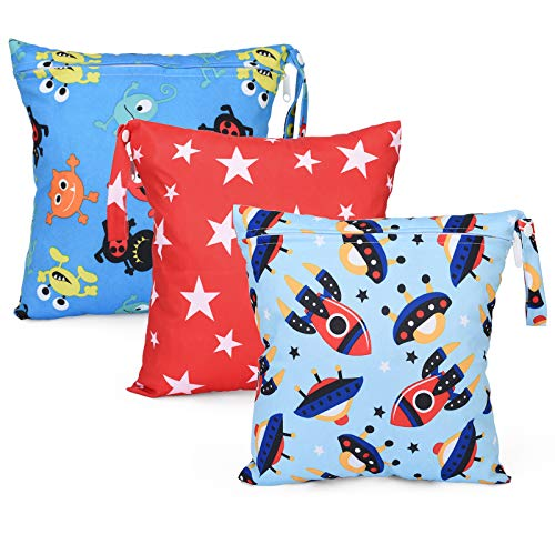 Seebel 3pcs Cloth Diaper Wet Dry Bags Waterproof Reusable Stroller Travel Beach Pool Daycare Soiled Baby Items Yoga Gym Bag for Swimsuits or Wet Clothes(11' x 11')