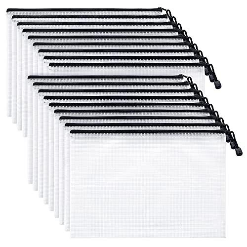 Mifflin Mesh Zipper Pouch Document Bag (Black, A4 Letter Size, 18 Bulk Pack), Clear Travel Zipper Bags, Waterproof Plastic Pouches, Large (L) Zip Pouch