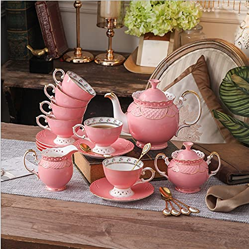 Exquisite coffee cup Coffee Set Ceramic Afternoon Tea Set Household Modern Ceramic Cup And Saucer Pot Hand-carved Hollow Coffee Mug Cup with Handle (Color : A)
