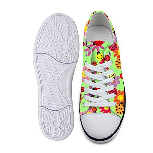 AXGM - Zapatillas para Hombre con diseño de Flores y Mariquitas, de Lona Baja, con Cordones y Cordones, Color, Talla 45 EU