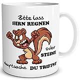 TRIOSK Tasse Eichhörnchen mit Spruch lustig Lass Hirn Regnen Geschenk Spaßtasse für Arbeit Büro Männer Frauen Freunde Kollegen
