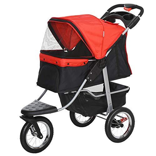 Pawhut Hundewagen Hundebuggy Katzenbuggy Pet Stroller mit 3 Rädern klappbar Hunde Katze Oxford Rot+Schwarz 109,5 x 54,5 x 106,5 cm