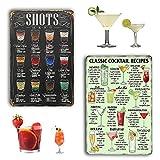 2 Stück Cocktail Schild,19.5*29.5cm Vintage Cocktail