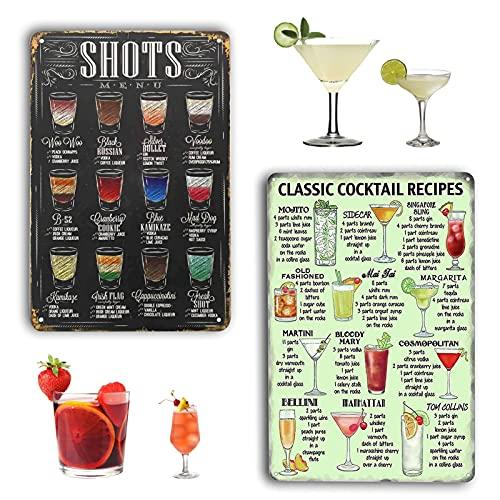 2 Stück Cocktail Schild,19.5*29.5cm Vintage Cocktail Schilder,Cocktail Recipe Poster,Retro Blechschild Bar,Schild Cocktailbar,Blechschild Cocktail,Metallschilder Cocktail,Retro Blechschild (A)