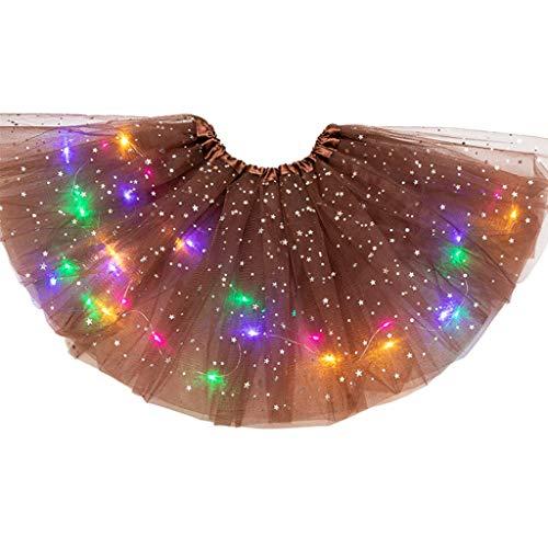 Jiushiwwwan Kids Girls Glitter Star Paillettes Ballet Dance Tutu Gonna LED Light Up Neon colorato Tulle Abito Corto Party Stage Costume Marrone