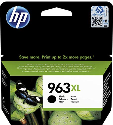 HP 963 XL 3JA30AE Cartuccia Originale, ad Alta Capacità, da 2.000 Pagine, Compatibile con Stampanti a Getto d'Inchiostro HP OfficeJet Pro Serie 9010 e HP OfficeJet Pro 9020, Nero