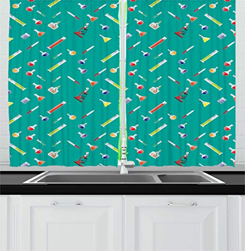 Lunarable Chemistry Kitchen Curtains, Laboratory Equipment Jars Beakers Flasks Microscope Biology Class, Window Drapes 2 Panel Set for Kitchen Cafe Decor, 55' X 39', Dark Seafoam Multicolor