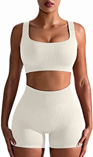 Workout Outfits for Women 2 Piece Seamless Ribbed High...