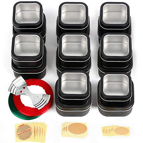 UHAPEER Set di Vasetti Alluminio Quadrati 16 Pezzi, riutilizzabili barattoli Vuoti, arattoli Metallo Vasetto Vuoto Contenitori Cosmetici, per Candele a Secco, Fai da Te, Kit per Realizzare Candele