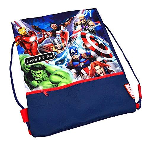 GiftsOnline4U Personalised Avengers Gym Bag Drawstring Pe Kit Kids...