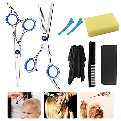 Hair Cutting Scissors Set, Hair Cutting Shears Kit, Hairdressing Scissors Kit, With Thinning Shears, Hair Razor Comb, Clips, Cape,Barber set,for Salon or Home Use, 8PCS