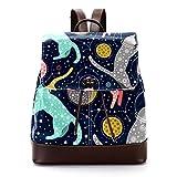 Mochila casual de cuero de la PU para los hombres, bolso de hombro de las mujeres estudiantes mochila para viajes negocios universitarios gatos astronautas