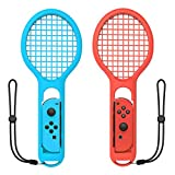 Tennis Racket for Nintendo Switch Joy-Con Controller and Mario Tennis Aces - 2 Pack, Blue and Red - Blue & Red