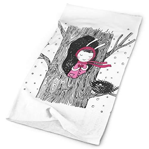 Magic Headwear Outdoor Scarf Headbands Bandana,Little In The Tree Hollow Holding A Heart Bird And Nest In Winter Snowfall,Mask Neck Gaiter Head Wrap Mask Sweatband