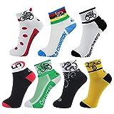 LIN 7 Pack Cycling Socks CoolMax Ankle Bike Socks Cool Funny Bicycle Socks Men and Women