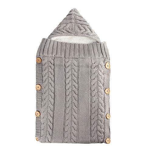 IEUUMLER Neugeborene Gestrickt Wickeln Swaddle Decke Schlafsack Wickeldecke für 0-12 Monate Baby IE130 (Light Grey)