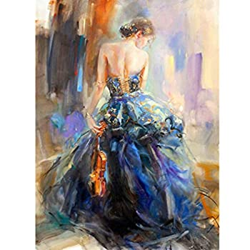BoutiQ Diamond Painting Kits for Adults Full Drill - Elegant Girl with Violin 40x50cm 5D DIY Round Beads Paint by Number Kit Set Puzzle Pictures Stress Relief Pixel Arts Craft for Home Wall Décor