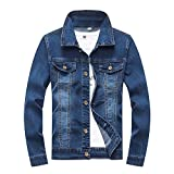 Boy's Denim Jacket Loose Casual Denim Jacket Children's Fashion Slim Kid Elastic Long Sleeve Denim Jacket 9-14 Age (Blue, 12-13 Years/Reference Height 25/158)