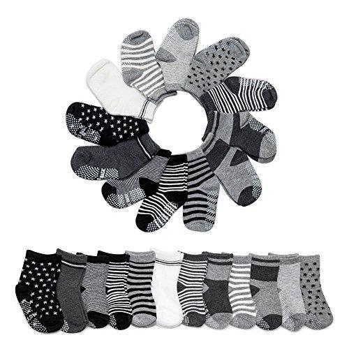 Calcetines de Algodón Antideslizantes para Bebé (12 pares)