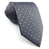 shlax&wing Nuevo Diseño Puntos Corbatas Para Hombre Gris Azul Seda Para Hombre Traje de negocios Classic