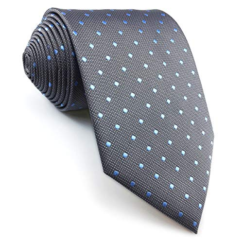 shlax&wing Herren Tie Gris Azul Puntos Krawatte Herren Seide Classic 147cm