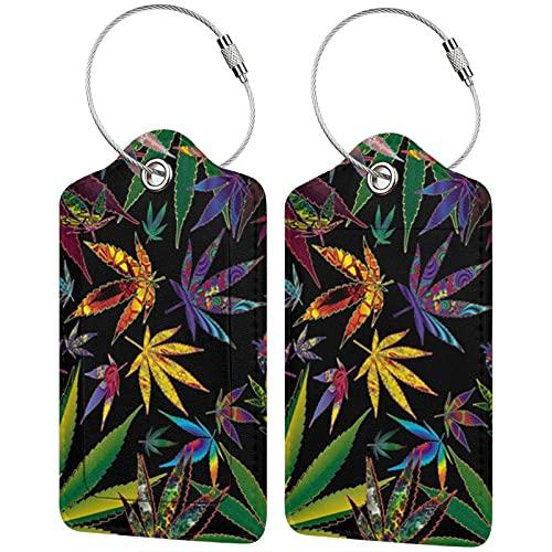 Trippy - Etiquetas para equipaje de marihuana (2 unidades), diseño de hojas de marihuana