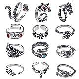kinbom 12 pezzi anelli vintage punk, con il motivo del drago serpente drago gatto rana lega set di anelli regolabili anello da dito gotico retrò per donna uomo