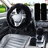STEVE YIWU 1 Set 5 Pcs Fluffy Steering Wheel Cover & Handbrake Cover & Gear Shift Cover Set & Seat Belt Shoulder Pads Faux Wool Universal Non-Slip Car Interior Accessories -15'(38cm) (Black)