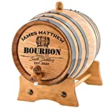 Personalized - Custom American White Oak Bourbon Aging Barrel - Oak Barrel Aged (5 Liters, Black Hoops)