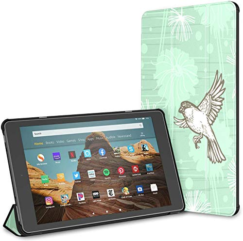 Case For All-new Amazon Fire Hd 10 Tablet (7th And 9th Generation,2017/2019 Release),slim Folding Stand Cover With Auto Wake/sleep For 10.1 Inch Tablet, Doodle Yellow White Dandelion