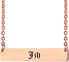 Dancing Wolf Personalized Name Bar Necklace Custom Date Roman Numerals Necklace