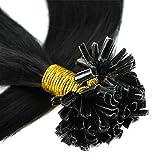 Extension Cheveux Naturel Keratine 200 Mèches Pose a Chaud - Rajout Extensions Keratine Pre Bonded U Tip Remy Human Hair Extensions - Pour Tête Entière (#1B NOIR NATUREL, 50CM-100g)