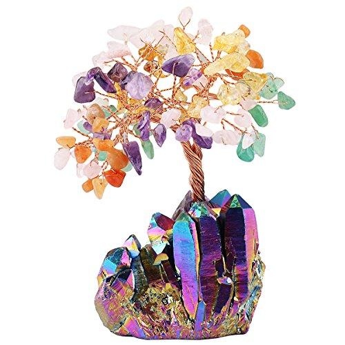mookaitedecor Colorful Crystal Tree, Quartz Cluster Rainbow Titanium Crystals Base Bonsai Money Tree for Wealth and Luck