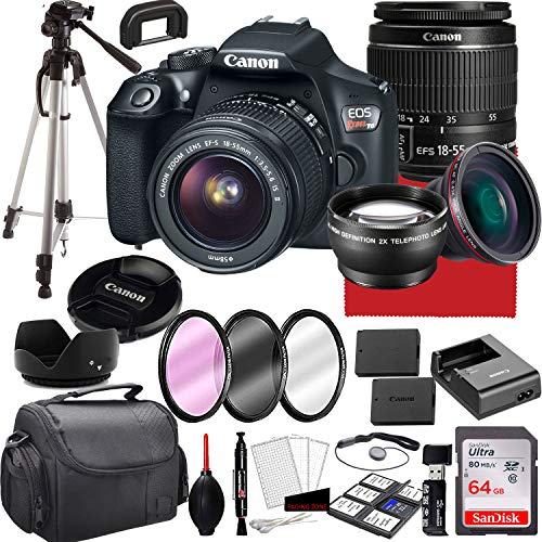 Canon eos rebel t6 dslr camera with 18-55mm f/3. 5-5. 6 is ii zoom lens, 64gb memory,case, tripod and more (28pc bundle)