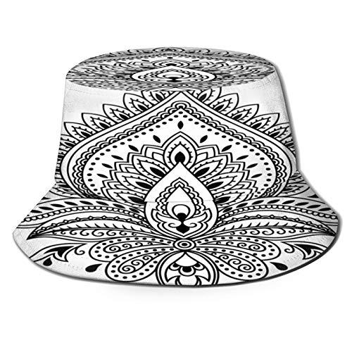 PUIO Angelhut Fischerhut,Mehndi Lotus Blumenmuster Henna Zeichnung,Bonie Safari Sonnenhüte zum Wandern im Freien für Männer und Frauen