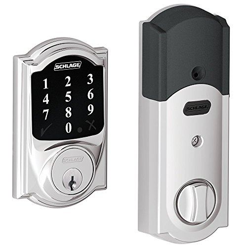 Schlage Z-wave Connect Camelot Touchscreen Deadbolt with Extra Key, Compatible with Alexa via SmartThings, Wink etc., Bright Chrome, BE468-625-2KA