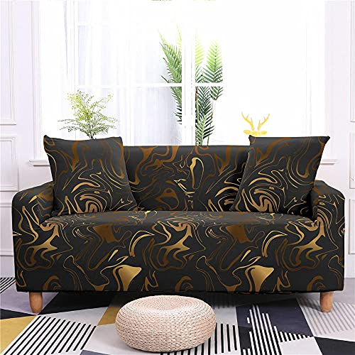 Funda de Sofá Elastica 4 Plazas Mármol Gris Dorado 3D PoliéSter Spandex Universal Ajustable Cubre Sofas Antisuciedad Antideslizante Protector Cubierta Muebles con Cuerda de Fijación