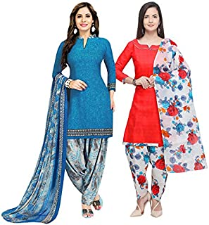 Rajnandini Women's Blue And Peach Cotton Printed Unstitched Salwar Suit Material (Combo Of 2) (Free Size)