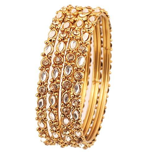 Touchstone Die noble Mogul-Ära der Armreifensammlung inspirierte Kundan und filigrane Designer-Schmuck-Armreifarmbänder für Damen 2.5 Set von 4 Gold