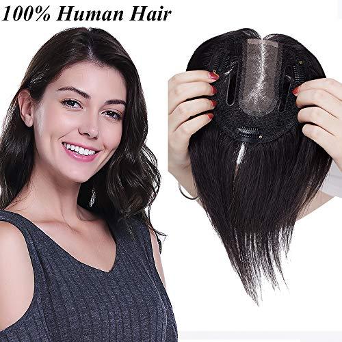 Extensiones de Cabello Natural Clip Prótesis Capilar Mujer Ampliar el Volumen en La Coronilla 100% Remy Flequillo Postizo Pelo Humano Hair Toppers Toupee 6