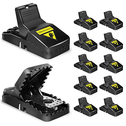 Mouse Trap, Small Rat Traps That Work, Best Humane Mouse Snap Traps No See Kill Mice Traps Mouse Killer with Detachable Bait Cup Safe and Effective Mouse Catcher for Home House Indoor Outdoor-12PCS