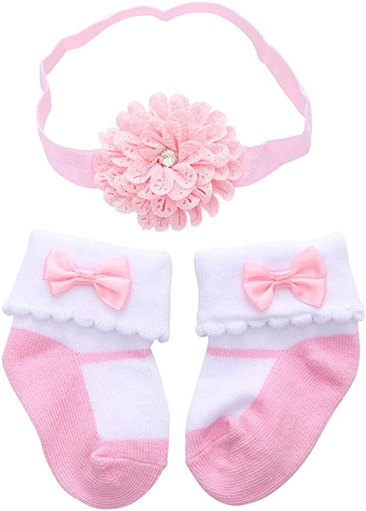 BBTDIN Baby Girls Headband Sock Infant Toddlers Headwrap Gloves Gift Set BBG05