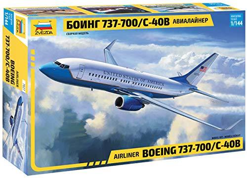 Zvezda 500787027 500787027-1:144 Boeing 737-700 / C-40 - Maqueta de Montaje de plástico para Principiantes, Color Blanco y Azul