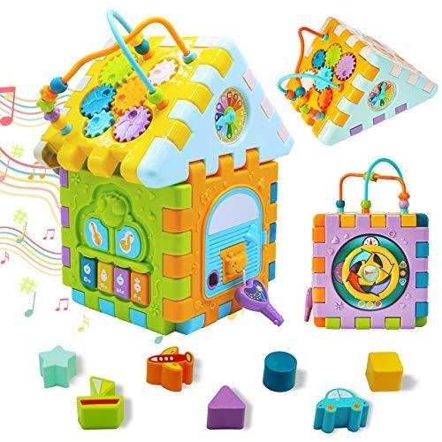 WYSWYG Juguete De Cubo De Actividad Musical para Bebés, Juguetes para Niños Pequeños para De 1 Año ,con Piano Y Luz,Regalo para Bebés Mayores De 18 Meses Juguete Educativo,Centro De Juegos 9 En 1