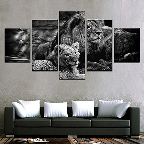 5 Piezas Cuadro sobre Lienzo De Fotos León Animal Lienzo Impresión Cuadros Decoracion Salon Grandes Cuadros para Dormitorios Modernos Mural Pared Listo para Colgar