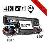 4K WiFi GPS Dash Cam, Anteriore e Posteriore Doppia 360° Ruotabile 170 Gradi Grandangolar...
