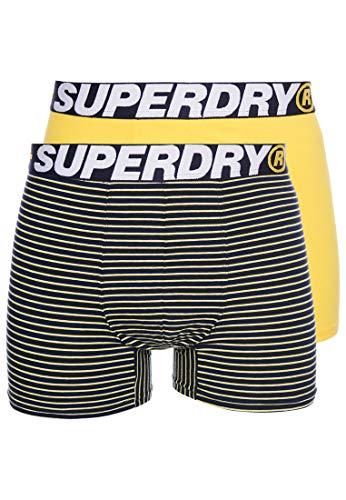 Superdry Herren Boxershorts aus Bio-Baumwolle im 2er-Pack Gelbes Multipack L