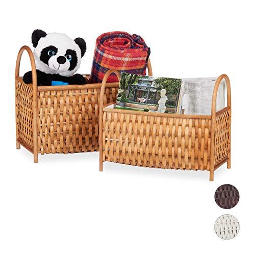 Relaxdays, honigbraun Aufbewahrungskörbe 2er Set, Allzweckkörbe, Zeitungsständer, Bambus Holz, in Handarbeit geflochten, Volumen: 10 Liter / 20