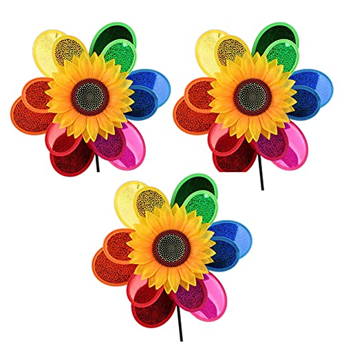 Ayiwue Sunflower Colorful Pinwheels Windmill Toy Wind Spinners for Yard and Garden,Windmill Decor Ornament Spinner for Patio Lawn Yard Garden Party Outdoor Stake Decorations (3PCS)