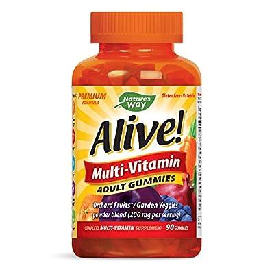 Nature's Way Alive! Adult Premium Gummy Multivitamin, Fruit and Veggie Blend (150mg per Serving), Full B Vitamin Complex, Gluten Free, Made with Pectin, 90 Gummies